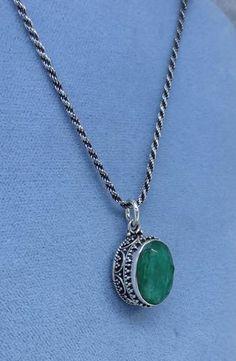Natural Emerald Sterling Silver Necklace - Victorian Antique Boho Style - EM210951