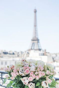 Paris Photography - A Paris Balcony, Eiffel Tower, Roses, Travel Fine Art Photograph, French Home Decor, Large Wall Art