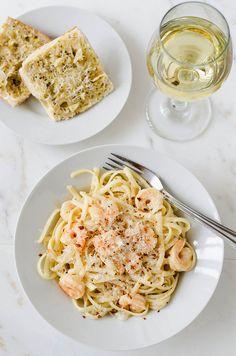 Shrimp Scampi with Fettuccine -