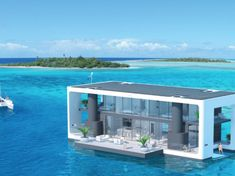 Solar and battery technology power a novel hurricane resistant floating electric house boat - Electrek Floating Architecture, Green Architecture, Architecture Design, Electric House, Water House, Floating House, Diy Solar, Green Building, Solar Energy