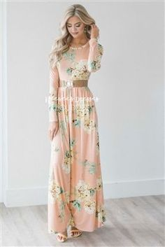 The Jaylee is a must have. Beautiful light peach dress features a floral print, long sleeves, round neckline, elastic waist and side seam pockets. Modest Dresses, Modest Outfits, Modest Fashion, Pretty Dresses, Beautiful Dresses, Dress Outfits, Casual Dresses, Fashion Dresses, Dresses With Sleeves