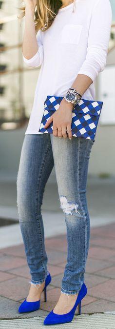 Kate Spade Black and Blue Check Enveloppe Clutch