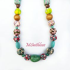 Polymer clay necklacebeaded necklace handmade beads by MSwithlove