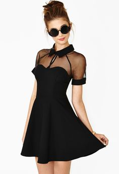 Little Black Dress. Black Contrast Transparent Sheer Mesh Hollow Dress. The top…
