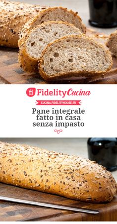 Pane integrale fatto in casa senza impasto - Homemade Pizza Pizza E Pasta, My Favorite Food, Favorite Recipes, Bread Head, Bread Recipes, Cooking Recipes, Biscuit Bread, No Knead Bread, Whole Wheat Bread