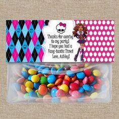 Monster High Favor Bag Topper, Monster High Party Printables, Monster High custom valentine 's day card