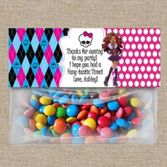 Monster High Favor Bag Topper, Monster High Party Printables, Monster High custom valentine 's day card