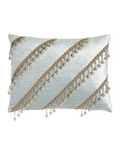 "Aero Velvet Pillow with Bead Trim, 12"" x 16"""