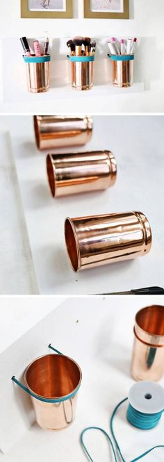 Leather + Copper Cup Organizer Click Pic for 18 DIY Makeup Storage Ideas for Small Bedrooms Easy Organization Ideas for the Home Diy Makeup Organizer, Diy Makeup Storage Jars, Makeup Storage Organization, Jar Storage, Organization Ideas, Storage Organizers, Cosmetic Storage, Bedroom Organization, Storage Drawers