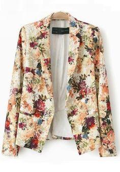 Multicolor Floral Buttons Notch Lapel Cotton Blend Suit