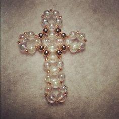 beaded cross (translucent & brass)