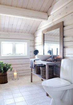 Whitewashed exposed lumber on ceilings and walls Rustic House, Cottage Style Interiors, House Interior, Cottage Interiors, Home, Interior, Log Homes, Cabin Bathrooms, Log Cabin Interior