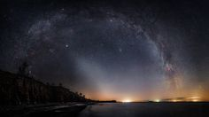 Zodiacal light - The zodiacal light reaches up along the ecliptic under the milky way. Photography by Jörgen Tannerstedt