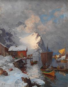 Fra Lofoten Even Ulving more works by this artist Art And Illustration, Fantasy Kunst, Fantasy Art, Landscape Art, Landscape Paintings, Art Occidental, Boat Painting, Mountain Paintings, Scandinavian Art