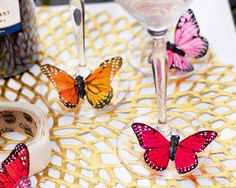 Artificial Butterflies Attached to Stemware with Pop-Up Glue Dots