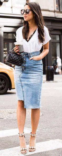 trendy outfit idea : white top + denim skirt + bag + heels