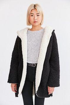 Ecote - Veste teddy réversible noire et blanche à capuche