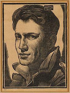 Murray Griffin, Self portrait, linocut