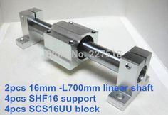 16mm linear set: 2pcs 16mm - 700mm linear round shaft +4pcs SK16 shaft support+4pcs SCS16UU linear bearing block #Affiliate