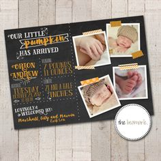 Digital Fall Baby Birth Announcement  Sweet Pumpkin by thebeamarie