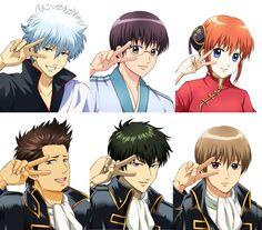 Gintoki, Shinpachi, Kagura and 3 Shinsengumi members Manga Art, Anime Art, Sebaciel, Okikagu, Kuroko No Basket, Anime Style, Live Action, Anime Love, Geek Stuff