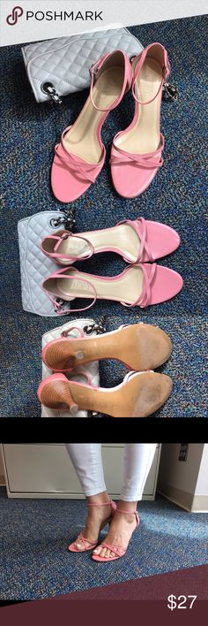 """Ann Taylor pink strap sandals Gorgeous pink AT strap sandals with 3 1/2"""" heel.  Ankle strap with adjustable buckle. Ann Taylor Shoes Sandals"""