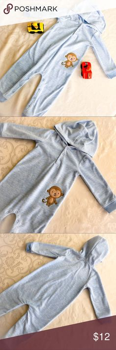 Carter's Monkey Fleeced Romper Carter's monkey fleece baby blue hooded romper. Footless. 18 months . Gently worn. Snap closure. So cute for toddlers! Great condition. Carter's Bottoms Jumpsuits & Rompers