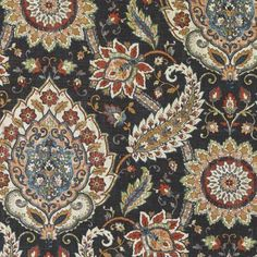 Prints Fabric -  Black Cherry Medallion/Tile Fabric Pattern