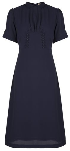 Lindy Bop 'Amelia' Vintage WW2 1940's Landgirl Tea Dress (8, Navy Blue)