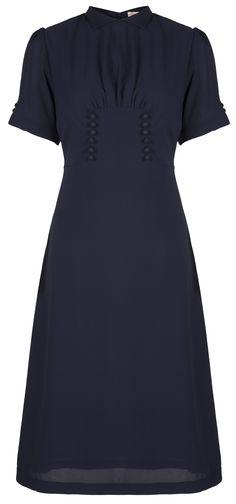 Lindy Bop 'Amelia' Vintage WW2 1940's Landgirl Tea Dress (8, Navy Blue)