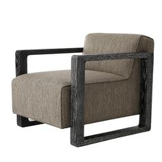 The Arteriors HomeDuran Chair in Pebble Tweed by Jay Jeffers showcasesa simple, elegant and strong seating design. The deep seat is complemented by a curved shelter frame, featuring beautifully cerused black wood and upholstery in a rich and textural pebble tweed. Make a powerful statement in living rooms and offices with this sophisticated accent chair.