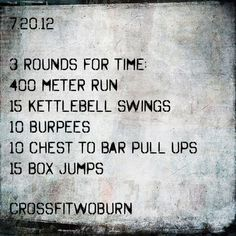 7.20.12 WOD Crossfit... Great wod for me. Make up day