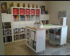 IKEA Expedit shelving units & craft island by jacqueline - Cards and Paper Crafts at Splitcoaststampers Awesome craft storage Ikea Craft Room, Craft Room Storage, Craft Desk, Craft Tables, Paper Storage, Ikea Storage, Diy Desk, Craft Table Ikea, Basement Craft Rooms