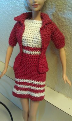 Crocheted Barbie Summer Dress and Jacket by sewnbytlc on Etsy, $10.00