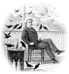 """A picture of Mark Twain (I think) in Bombay, observing crows. He wrote a chapter on them in his book """"Following the Equator""""."""
