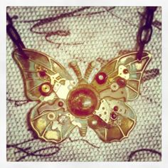 'Dark Flight' Steampunk Butterfly necklace with black metal chain #ooak #picoftheday #instagram #steampunk #butterfly #steampunkart #upcycle