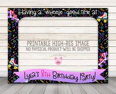 PRINTABLE Roller Skate Photo Booth Frame Rollerskate by HappyBarn