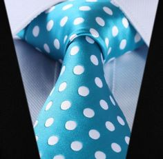 Blue tie with large white polka dots