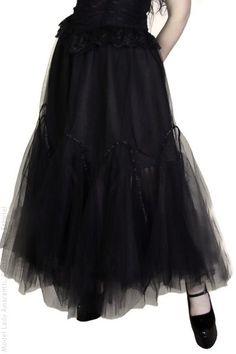 Juliet Long Tulle Black Gothic Skirt by Dark Star | Ladies