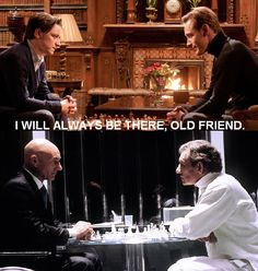 """De-gospel-truth:  Professor Charles Xavier and Erik Lensherr playing chess  The boys and I watched X-Men First Class for our """"date"""" tonight, and dammit, I cried through the last 20 minutes. Of course"""