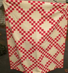 74in x 66in. ANTIQUE RED DOUBLE IRISH CHAIN QUILT ca 1900