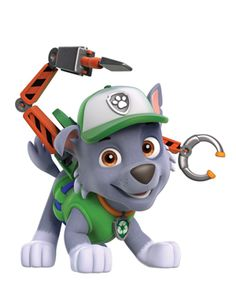 Rocky,the recycler pup is very witty and always fixes something he is happy to help. His best friends are Marshall and Zuma Paw Patrol Rocky, Paw Patrol Pups, Paw Patrol Cake, Paw Patrol Party, Paw Patrol Birthday, Paw Patrol Costume, Toddler Boy Birthday, Cumple Paw Patrol, 4th Birthday Parties