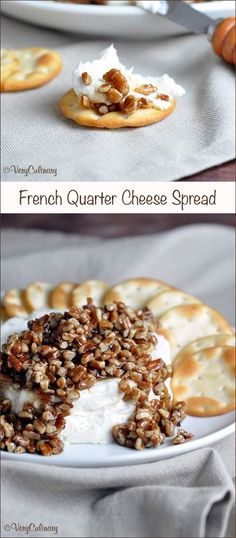 French Quarter Cheese Spread // Easy sweet and salty cheese spread. Topped with sugared pecans, it makes a festive appetizer for holidays!