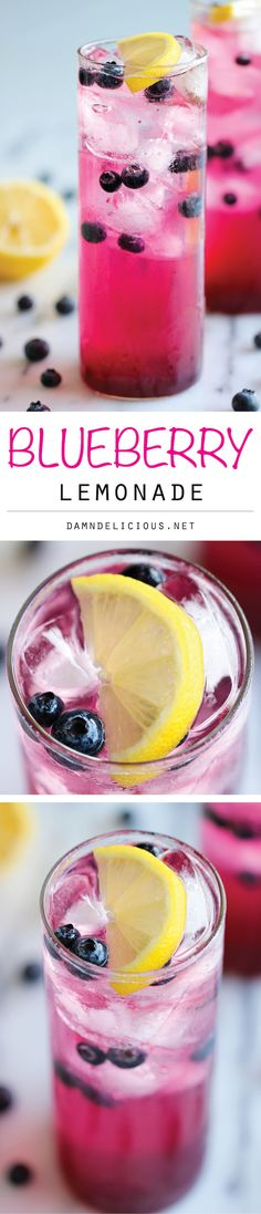 Try This Amazingly Delicious Blueberry Lemonade At Home Made with an easy blueberry syrup, this lemonade is so refreshing, sweet and tangy! It's the perfect way to cool down on a hot day! Refreshing Drinks, Fun Drinks, Yummy Drinks, Healthy Drinks, Yummy Food, Beverages, Tasty, Eating Healthy, Blueberry Syrup