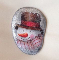 Image result for Snowman painted stones