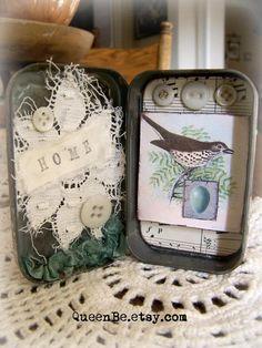 Altered Tins, Altered Art, Bird Crafts, Paper Crafts, Diy Online, Box Art, Art Boxes, Collage Vintage, Vintage Crafts