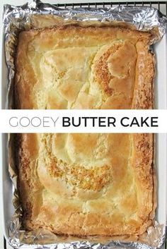 Gooey Butter Cake- Gooey Butter Cake Classic Gooey Butter Cake Recipe // It& a classic for a reason! Turn yellow cake mix into something magical. This cake is so buttery and moist. You& never be able to taste that you started with a boxed cake mix! Easy Desserts, Delicious Desserts, Yummy Food, Cake Mix Desserts, Southern Desserts, Tasty, Cake Mix Recipes, Baking Recipes, Yellow Cake Recipes