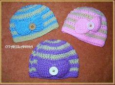 Gorro Lazo - calentitos y encantadores, para que tu bebé esté confortable y guapísima!! ... están realizados a mano en crochet con lanas suaves especiales para las más pequeñitas de la casa.