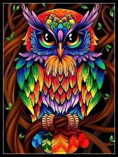 Wise Rainbow Owl Hippie Diamond Painting Kit makes stunning diamond art for home decoration! This DIY diamond painting kit has everything you need to create Images D'art, Owl Artwork, Owl Cartoon, Cross Crafts, Owl Crafts, Owl Pictures, 5d Diamond Painting, Diamond Art, Diamond Rings