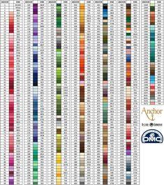 Anchor to DMC Thread Conversion Cross Stitch Beginner, Cross Stitch Thread, Cute Cross Stitch, Cross Stitch Kits, Cross Stitching, Cross Stitch Embroidery, Fil Dmc, Printable Graph Paper, Anchor Threads